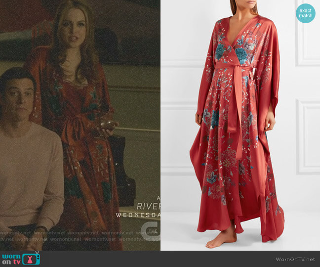 Printed Silk-Satin Robe by Meng worn by Elizabeth Gillies on Dynasty