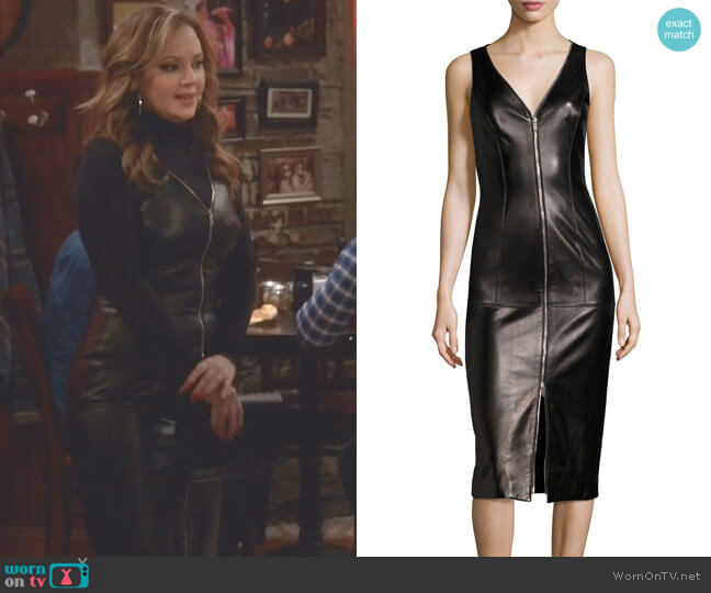 Lamb Leather Sleeveless Zip-Front Sheath Dress by Michael Kors worn by Vanessa Cellucci (Leah Remini) on Kevin Can Wait