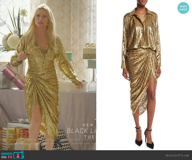 Metallic Cheetah Fil Coupe Shirt and Sarong Skirt by Michael Kors Collection worn by Alexis Carrington (Nicollette Sheridan) on Dynasty