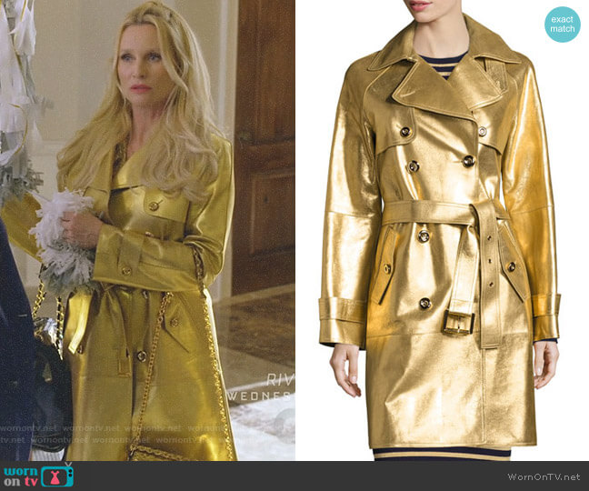 Metallic Leather Double-Breasted Trenchcoat by Michael Kors Collection worn by Alexis Carrington (Nicollette Sheridan) on Dynasty