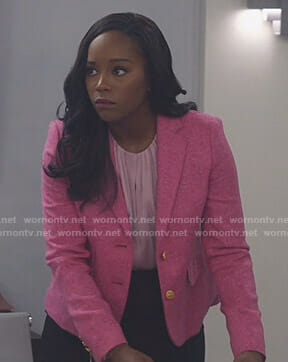 Michaela Pratt's pink blazer with gold buttons on Scandal