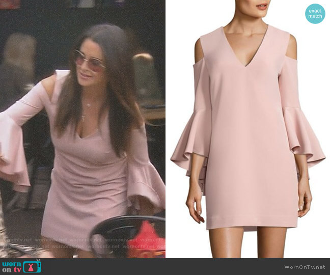 'Nicole' Cold-Shoulder Bell Sleeve Dress by Milly worn by Kyle Richards  on The Real Housewives of Beverly Hills