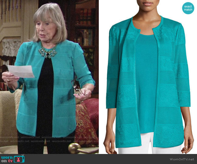 Misook Textured Lines Long Jacket worn by Dina Mergeron (Marla Adams) on The Young & the Restless