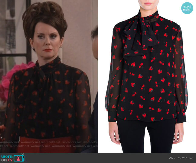 Strawberry & Cherry Print Tie-Neck Blouse by Miu Miu worn by Megan Mullally on Will & Grace