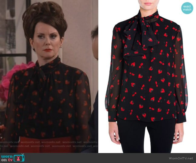 Strawberry & Cherry Print Tie-Neck Blouse by Miu Miu worn by Karen Walker (Megan Mullally) on Will & Grace