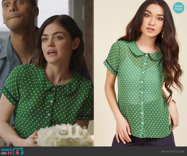 ModCloth Darling in Dots Button-Up Top in Clover worn by Stella Abbott (Lucy Hale) on Life Sentence