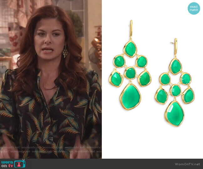 Siren Green Onyx Chandelier Earrings by Monica Vinader worn by Debra Messing on Will & Grace