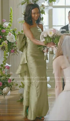 Monica's green back bow gown on Dynasty