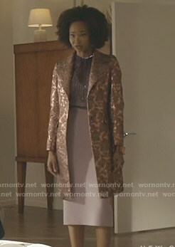Monica's metallic jacquard coat on Dynasty