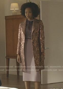 Monica's metallic jacquard coat on Dynasty