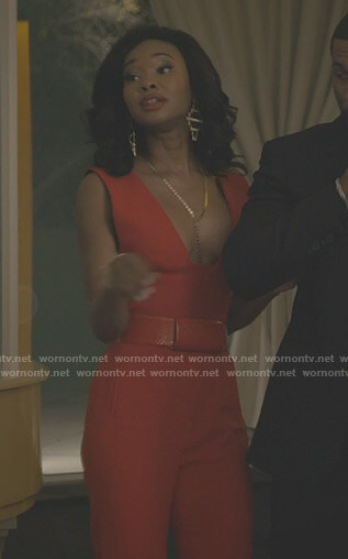Monica's red jumpsuit on Dynasty