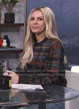 Morgan's plaid sheer sweatshirt on E! News Daily Pop