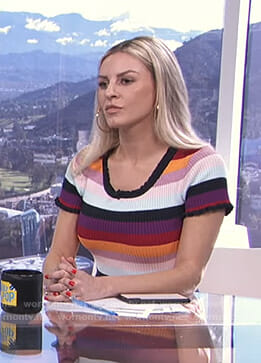 Morgan's striped ribbed top on E! News Daily Pop