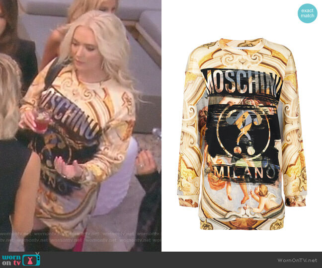 Fresco Print Cotton Jersey T-Shirt Dress by Moschino worn by Erika Girardi  on The Real Housewives of Beverly Hills