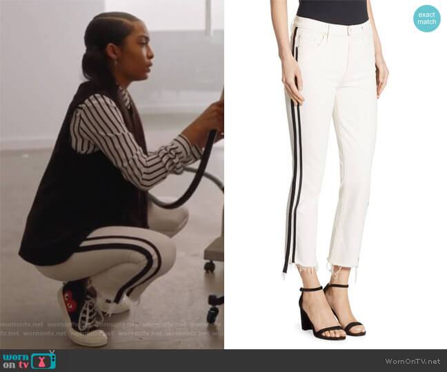 Insider Striped Cropped Step Hem Jeans by Mother worn by Zoey Johnson (Yara Shahidi) on Grown-ish