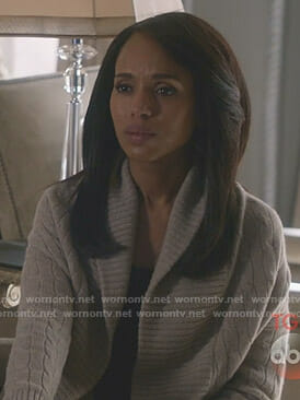 Olivia's grey cable knit shawl cardigan on Scandal