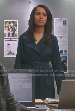 Olivia's navy suede wrap coat on Scandal