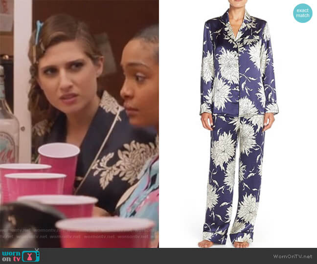 Lila Grace floral-print silk-satin pajama set by Olivia von Halle worn by Nomi Segal (Emily Arlook) on Grown-ish