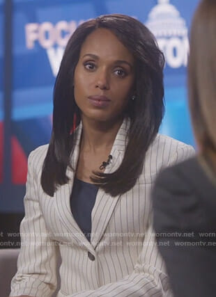 Olivia's white pinstriped blazer on Scandal