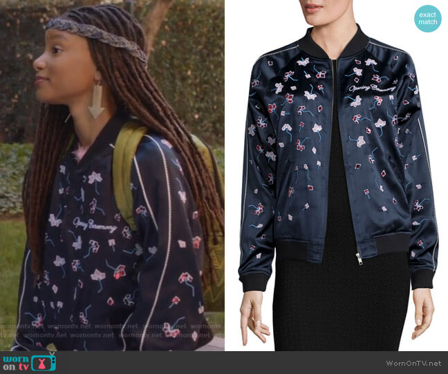 Embellished Silk Varsity Jacket by Opening Ceremony worn by Skylar Forster (Halle Bailey) on Grown-ish