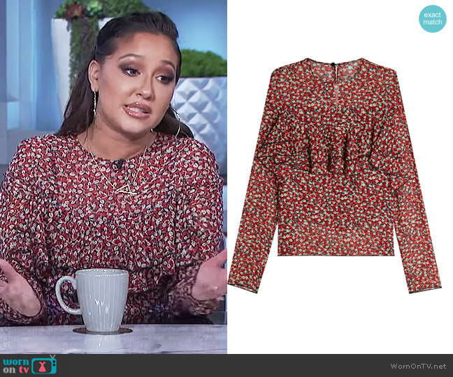 Ruffle Front Silk Chiffon Blouse by Philosophy Di Lorenzo Serafini worn by Adrienne Houghton on The Real