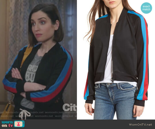 Crop Track Jacket by Pam & Gela worn by Zoe Lister-Jones on Life in Pieces