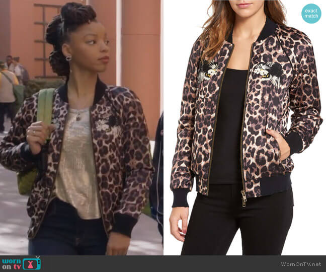 Embellished Bomber Jacket by Pam & Gela worn by Chloe Bailey on Grown-ish