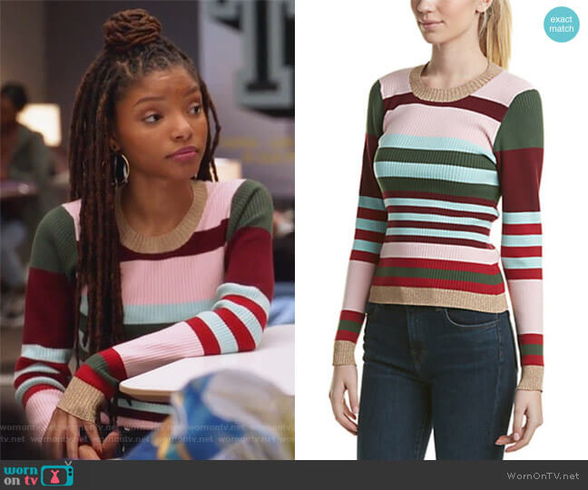 Skyler Sweater by Parker worn by Skylar Forster (Halle Bailey) on Grown-ish