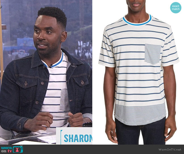 Mixed Stripe Pocket T-Shirt by PS Paul Smith worn by Justin Sylvester on E! News
