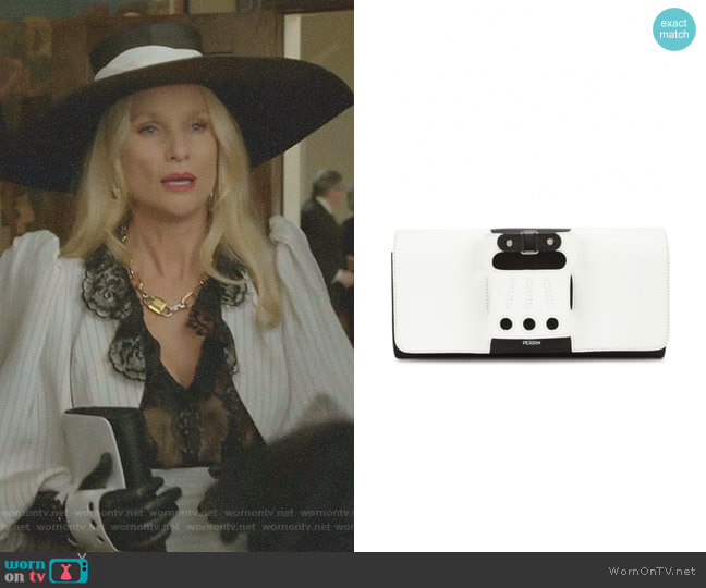 Le Cabriolet Monochrome Leather Clutch by Perrin Paris worn by Nicollette Sheridan on Dynasty