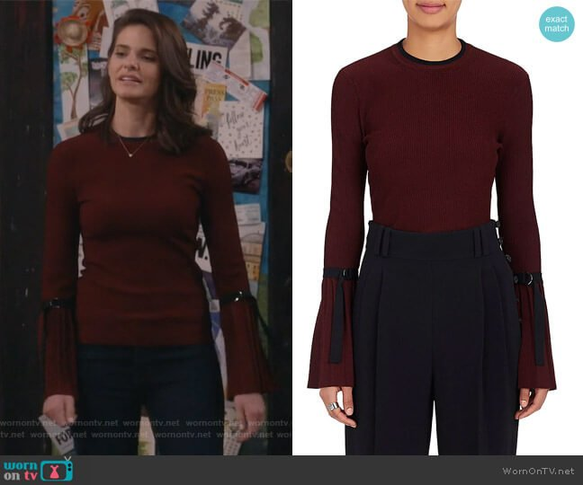Flared-Sleeve Rib-Knit Sweater by Phillip Lim 3.1 worn by Lindsey Kraft on Living Biblically