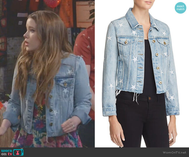 Star Spangled Cut-Off Denim Jacket by Pistola worn by Kendra Gable (Taylor Spreitler) on Kevin Can Wait