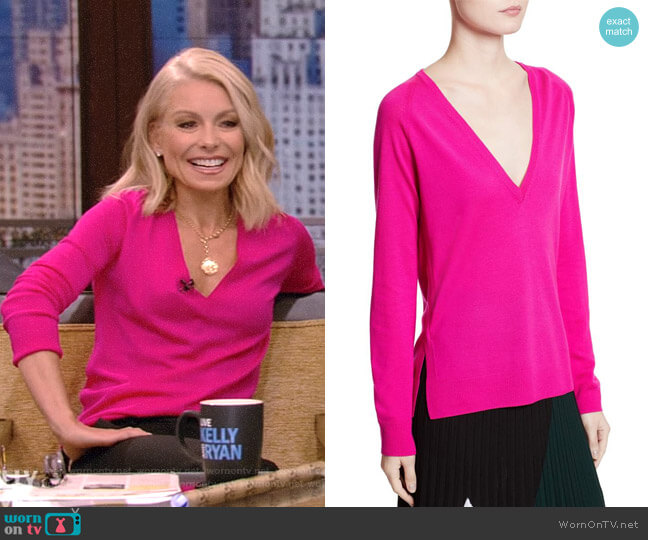 Plunging V-Neck Merino Wool Sweater by Proenza Schouler worn by Kelly Ripa (Kelly Ripa) on Live with Kelly & Ryan