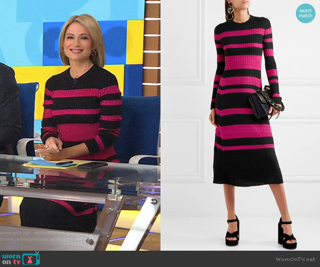 Stripe Cashmere, Wool & Silk Midi Dress by Proenza Schouler worn by Amy Robach on Good Morning America