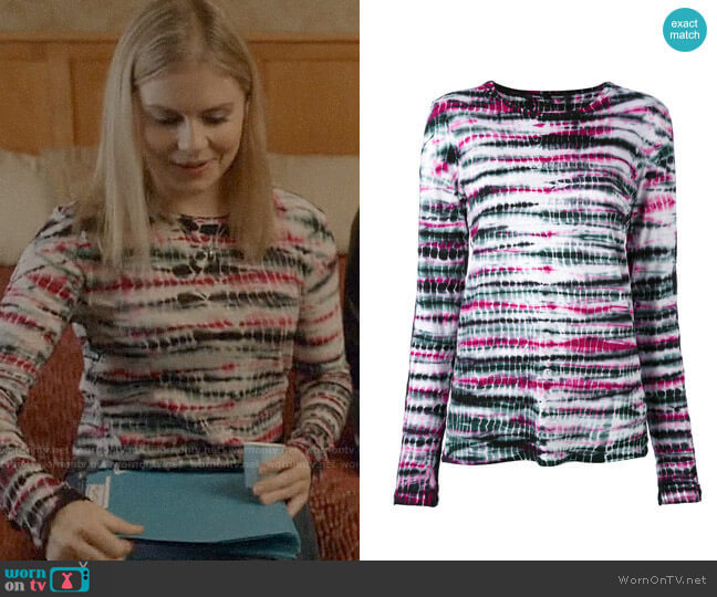 Proenza Schouler Tie-Dyed Cotton T-Shirt worn by Liv Moore (Rose McIver) on iZombie