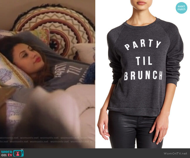 Party 'Til Brunch Pullover Sweater by Project Social T worn by Francia Raisa on Grown-ish