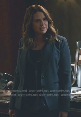 Abby's printed tie neck blouse on Scandal
