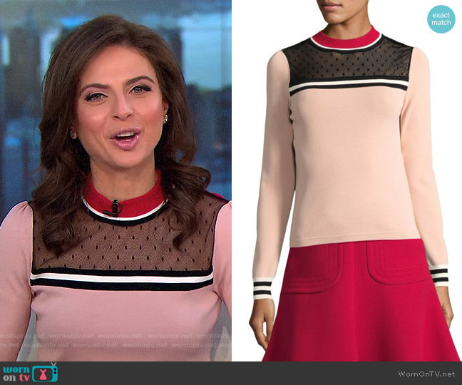 Colorblock Top by RED Valentino worn by Bianna Golodryga on CBS This Morning