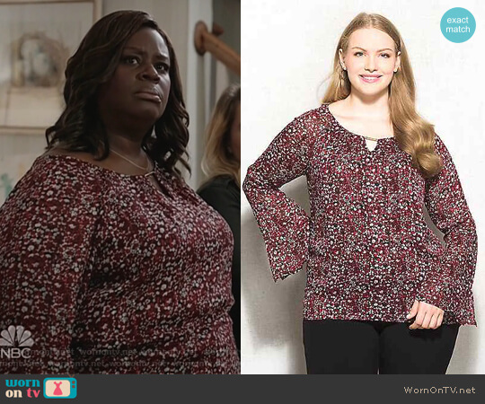 Printed Shimmer Bar Keyhole Blouse by Roz & Ali worn by Ruby Hill (Retta) on Good Girls