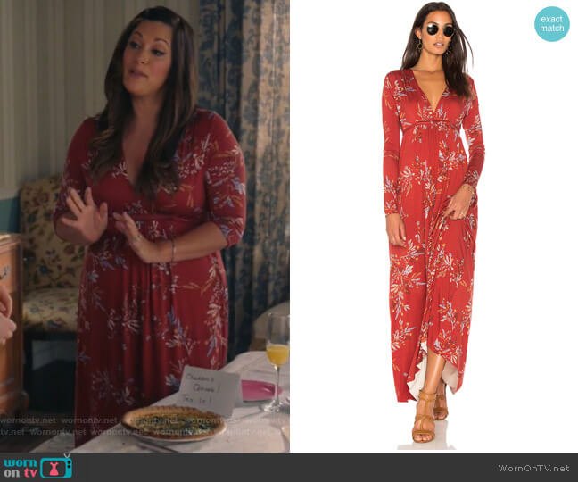 Long Sleeve Maxi Caftan dress by Rachel Pally worn by Colleen Brandon-Ortega (Angelique Cabral) on Life in Pieces
