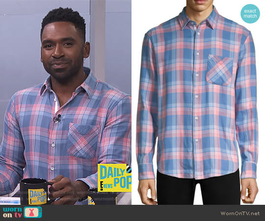 Plaid Beach Shirt by Rag & Bone worn by Justin Sylvester  on E! News