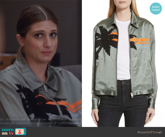 Roth Embroidered Satin Jacket by Rag & Bone worn by Nomi Segal (Emily Arlook) on Grown-ish