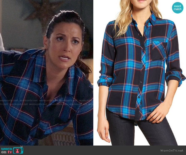 Rails Hunter Shirt in Azure Midnight Ruby worn by Colleen Brandon-Ortega (Angelique Cabral) on Life in Pieces