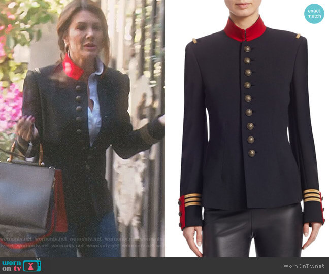 Iconic The Officer's Double-Faced Wool Jacket by Ralph Lauren Collection worn by Lisa Vanderpump on The Real Housewives of Beverly Hills