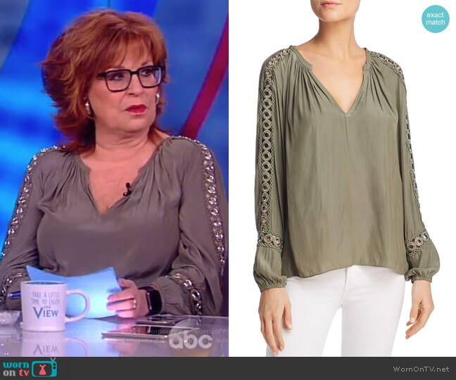 Sera V-Neck Long-Sleeve Blouse with Grommet Trim by Ramy Brook worn by Joy Behar on The View