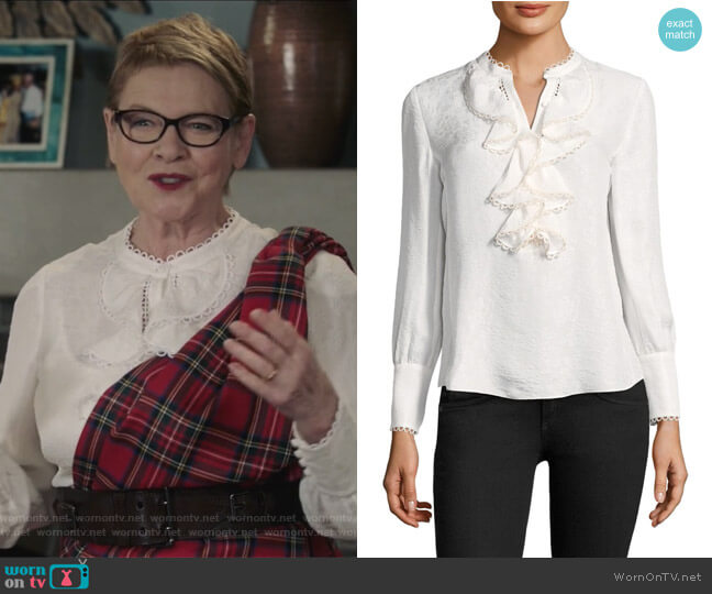 Silk Ruffle Blouse by Rebecca Taylor worn by Joan Short (Dianne Wiest) on Life in Pieces
