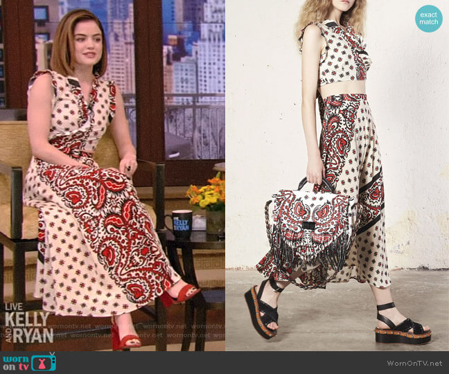 Bandana Print Poplin Crop Top and Printed Silk Midi Skirt by Red Valentino worn by Lucy Hale on Live with Kelly and Ryan