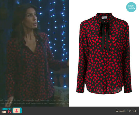 Heart Embroidered Blouse by RED Valentino worn by Kristian Alfonso on Days of our Lives