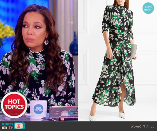 Lucy ruffled floral-print silk crepe de chine midi dress by Rixo London worn by Sunny Hostin on The View