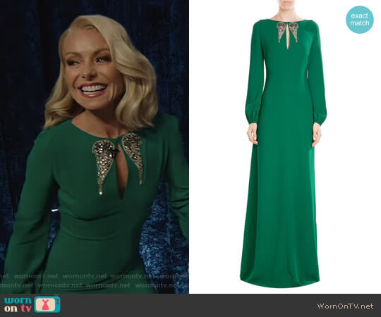 Floor Length Dress with Embellishment by Roberto Cavalli worn by Kelly Ripa  on Live with Kelly & Ryan